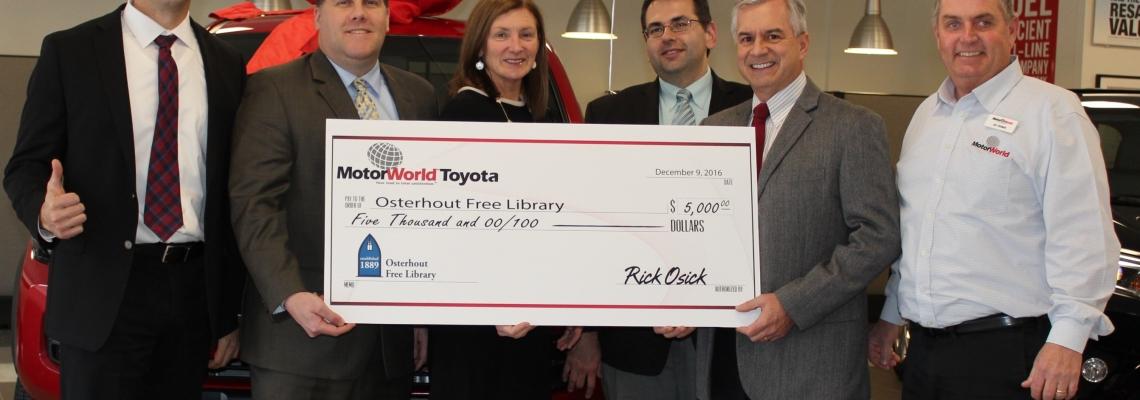 MotorWorld Toyota Donates to the Osterhout Free Library