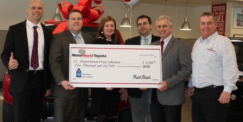 Motorworld Toyota Donates To The Osterhout Free Library Osterhout